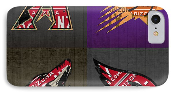 Phoenix Sports Fan Recycled Vintage Arizona License Plate Art Diamondbacks Suns Coyotes Cardinals IPhone Case by Design Turnpike