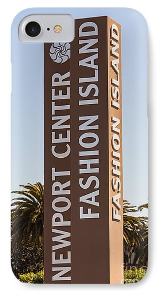 Photo Of Fashion Island Sign In Newport Beach Phone Case by Paul Velgos