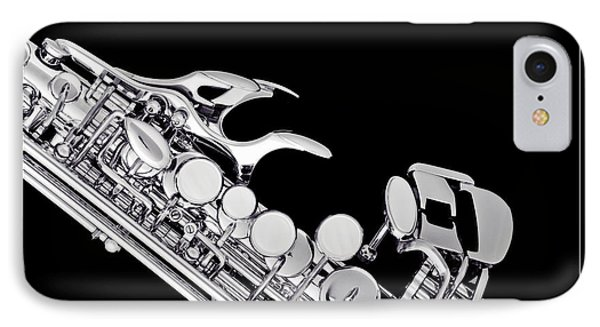 Photograph Of A Soprano Saxophone In Sepia 3342.01 IPhone Case by M K  Miller