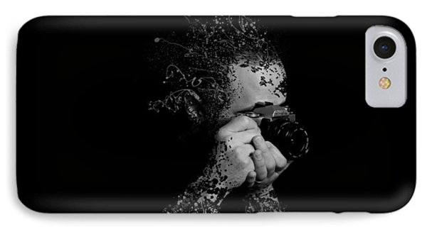 Photographer Camera Abstract Explosion Black And White Dripping Paint Splatter Phone Case by Andy Gimino