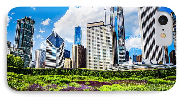 Picture Of Lurie Garden Flowers With Chicago Skyline IPhone Case by Paul Velgos