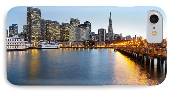 Pier With City At Sunset, Bay Bridge IPhone Case by Panoramic Images