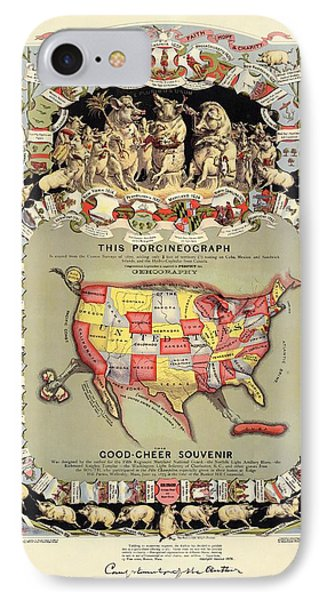 Pig-shaped Map Of The Usa IPhone Case by Library Of Congress