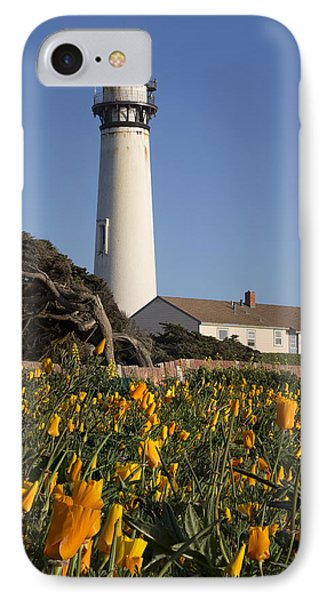 Pigeon Point Lighthouse And California Poppies IPhone Case by Adam Romanowicz