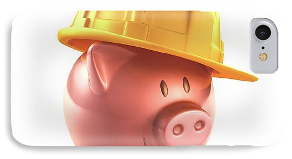 Piggy Bank And Hard Hat IPhone Case by Ktsdesign