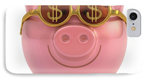 Piggy Bank With Sunglasses IPhone Case by Ktsdesign