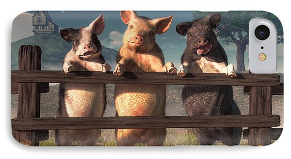 Pigs On A Fence IPhone Case by Daniel Eskridge