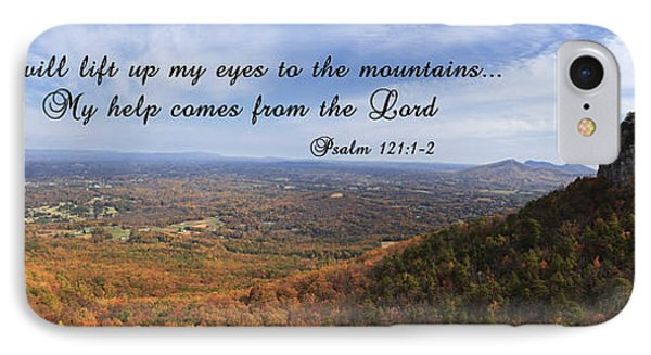 Pilot Mountain Panorama With Scripture IPhone Case by Jill Lang
