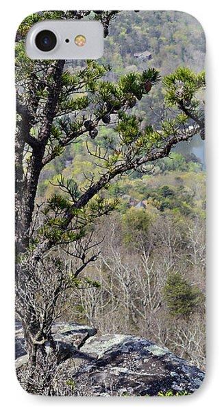 Pine Tree On A Mountain Phone Case by Susan Leggett