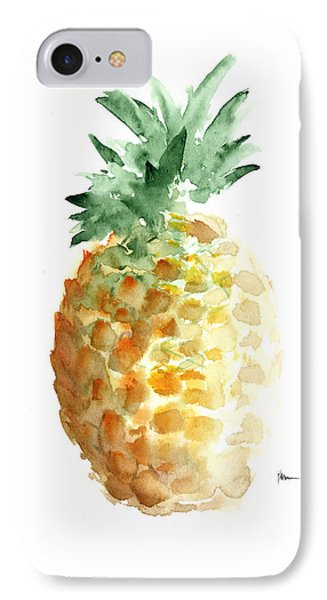 Pineapple Art Print Watercolor Painting IPhone Case by Joanna Szmerdt