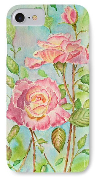 Pink Roses And Bud Phone Case by Kathryn Duncan