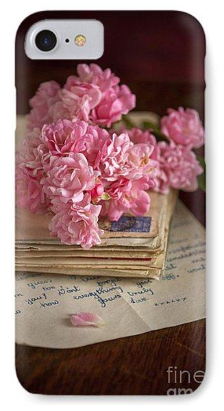 Pink Roses Vintage Envelopes And Love Letter IPhone Case by Lee Avison