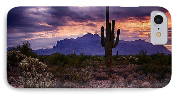 Pink Skies At The Superstitions Phone Case by Saija  Lehtonen
