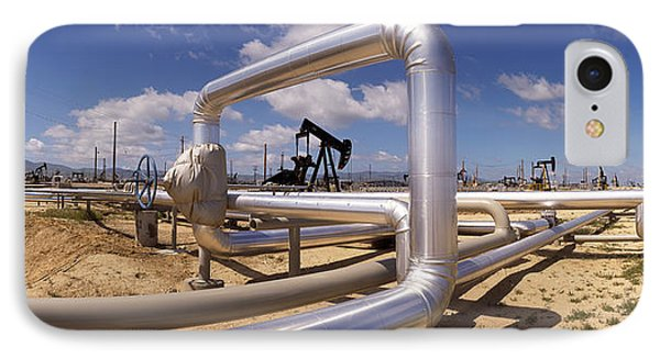 Pipelines On A Landscape, Taft, Kern IPhone Case by Panoramic Images