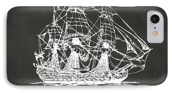 Pirate Ship Artwork - Gray IPhone Case by Nikki Marie Smith