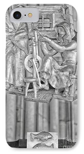 Pisces Zodiac Sign - St Vitus Cathedral - Prague - Black And White IPhone Case by Ian Monk