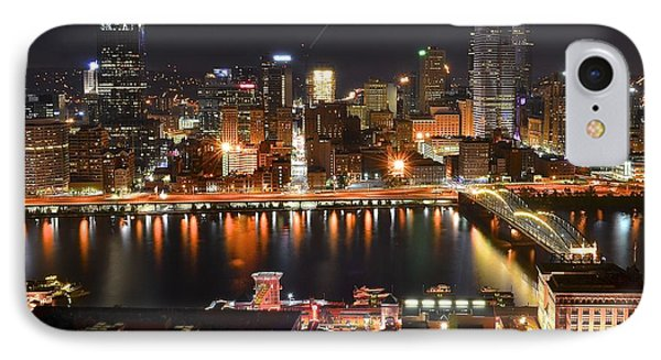Pittsburgh Over The Monongahela IPhone Case by Frozen in Time Fine Art Photography