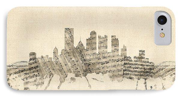 Pittsburgh Pennsylvania Skyline Sheet Music Cityscape IPhone Case by Michael Tompsett