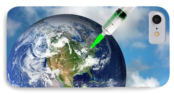 Planet Earth And A Syringe IPhone Case by Victor De Schwanberg