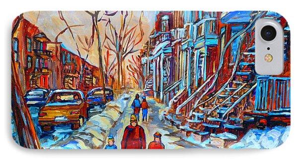 Plateau Montreal Street Scene IPhone Case by Carole Spandau