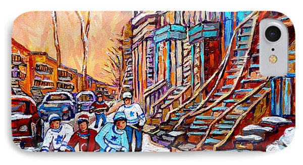 Pointe St.charles Hockey Game Near Winding Staircases Montreal Winter City Scenes Phone Case by Carole Spandau