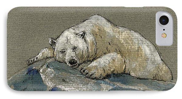 Polar Bear Sleeping IPhone Case by Juan  Bosco
