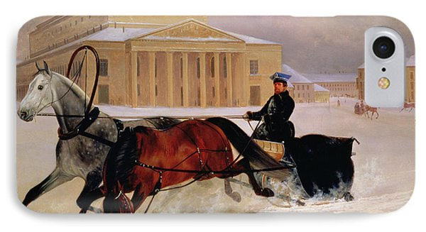 Pole Pair With A Trace Horse At The Bolshoi Theatre In Moscow IPhone Case by Nikolai Egorevich Sverchkov