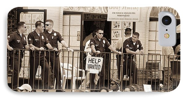 Police Gathered Behind A Help Wanted Sign, 2004 Bw Photo IPhone Case by Stephen Spiller