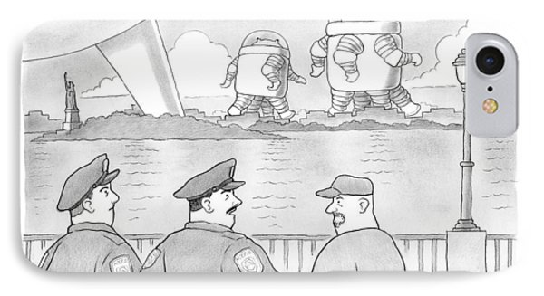 Police Officers Look Across The River As Aliens IPhone Case by David Borchart
