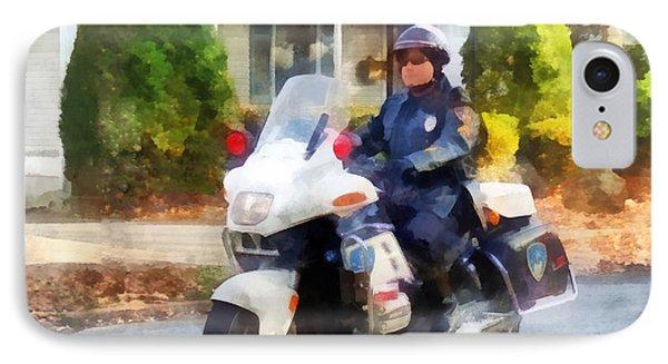 Police - Suburban Motorcycle Cop Phone Case by Susan Savad