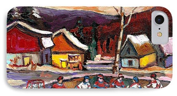 Pond Hockey Birch Tree And Mountain Phone Case by Carole Spandau