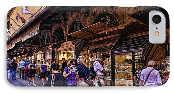 Ponte Vecchio Merchants - Florence Phone Case by Jon Berghoff