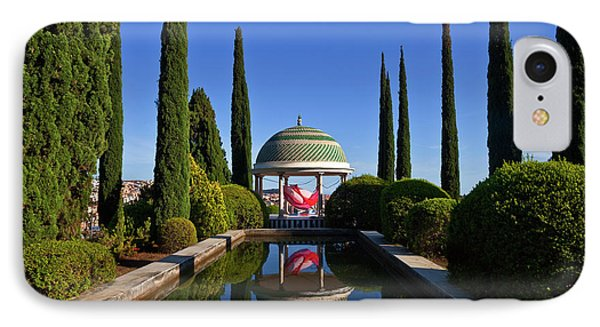 Pool And Temple With Art IPhone Case by Panoramic Images