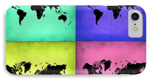 Pop Art World Map 2 IPhone Case by Naxart Studio
