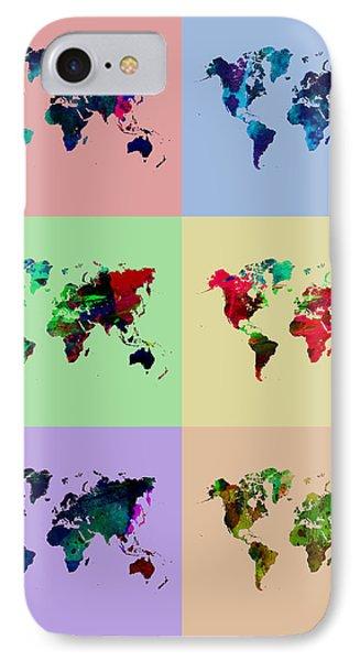 Pop Art World Map Phone Case by Naxart Studio
