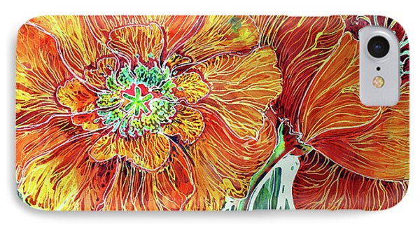 Poppies Batik Abstract Phone Case by Marcia Baldwin