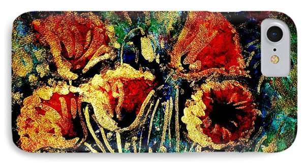 Poppies In Gold Phone Case by Zaira Dzhaubaeva