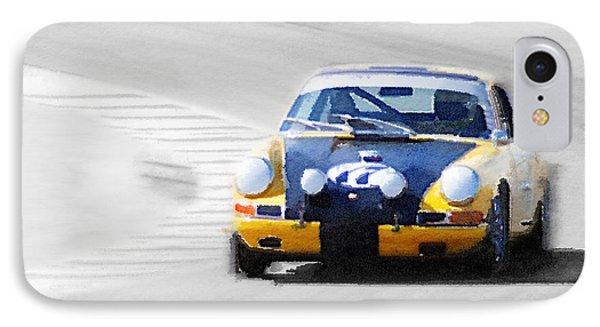 Porsche 911 On Race Track Watercolor IPhone Case by Naxart Studio