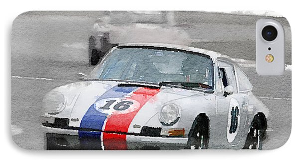 Porsche 911 Race In Monterey Watercolor IPhone Case by Naxart Studio
