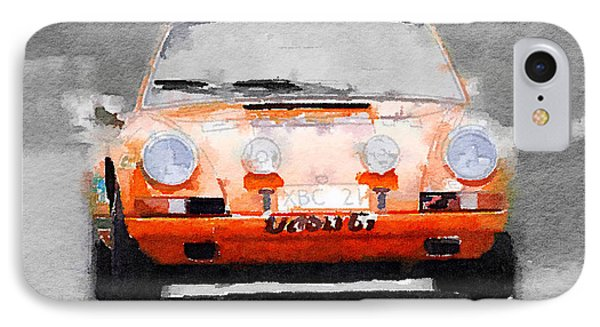 Porsche 911 Race Track Watercolor IPhone Case by Naxart Studio