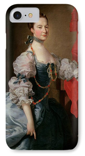 Portrait Of A Lady In A Blue Gown Phone Case by Thomas Hudson
