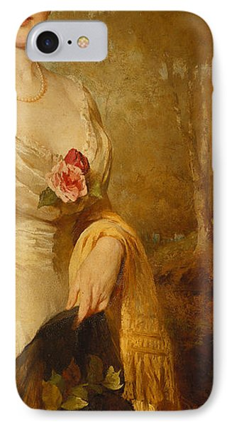 Portrait Of A Lady In A White Dress Phone Case by George Elgar Hicks