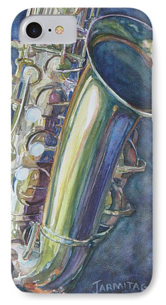 Portrait Of A Sax IPhone Case by Jenny Armitage