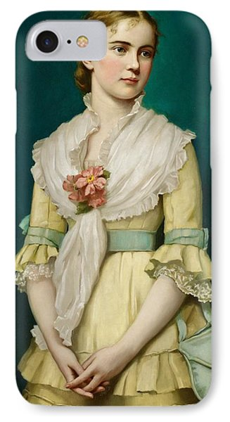 Portrait Of A Young Girl IPhone Case by George Chickering Munzig