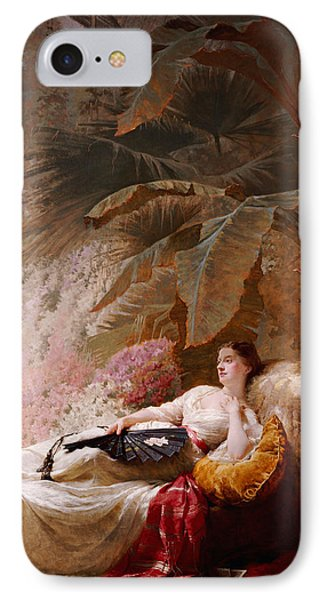 Portrait Of Adelaide Maria Guiness Reclining On A Sofa In A Conservatory Phone Case by George Elgar Hicks