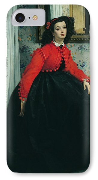 Young Lady In A Red Jacket IPhone Case by James Jacques Joseph Tissot