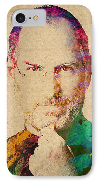 Portrait Of Steve Jobs IPhone Case by Aged Pixel