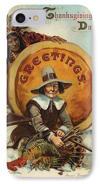 Postcard Of Pilgrim Plucking A Turkey Phone Case by American School