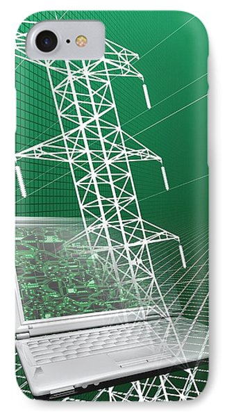 Power Lines And Laptop IPhone Case by Victor Habbick Visions