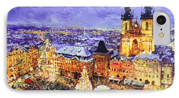 Prague Old Town Square Christmas Market IPhone Case by Yuriy Shevchuk